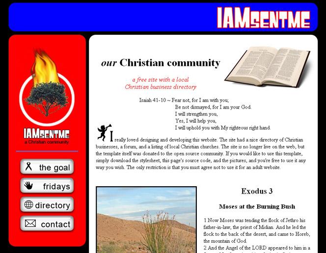 www.iamsentme.com screenshot - previous design
