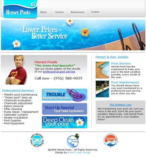 www.hemetpoolcare.com screenshot