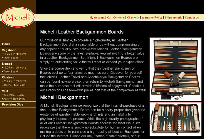 www.michellibackgammon.com screenshot