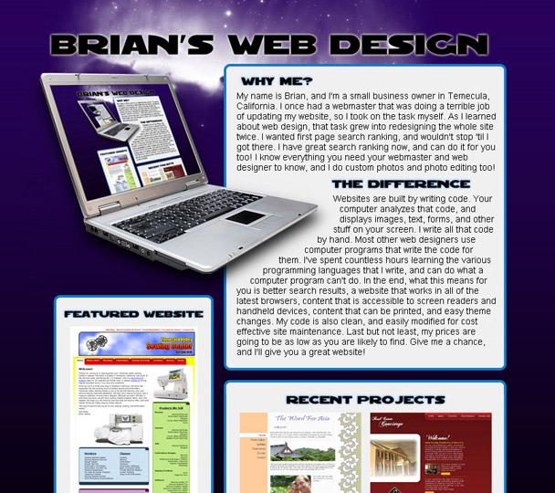 brianswebdesign.com screenshot - previous design